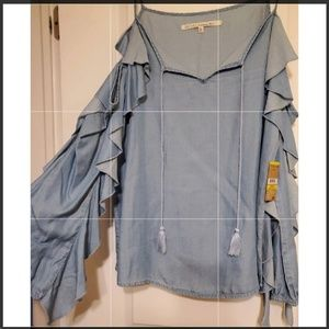NWT Rachel Roy Ruffled Denim Long Sleeve medium